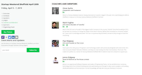 Startup Weekend Sheffield - Coaches